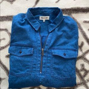 Madewell Demin Quarter Zip Popover Shirt